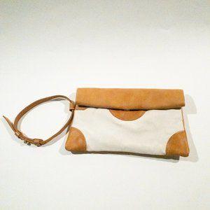 Sseko Tan Canvas Leather Trim Wristlet Clutch Bag